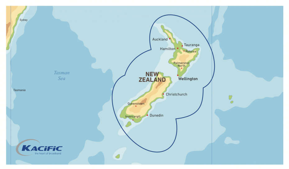 Kacific Satellite Broadband Coverage Map New Zealand
